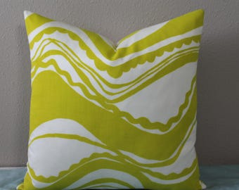 BOTH SIDES - Trina Turk Indoor/Outdoor Carmel Coastline Print in Sulfur - Lemon Lime Color - Square Size Decorative Designer Pillow Cover