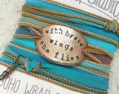 WITH BRAVE WINGS she flies- silk wrap bracelet- boho wrap- gift for friend- bohemian jewelry- gift for sister