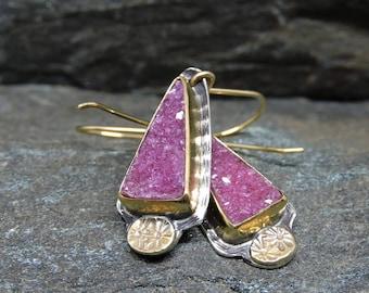 Natural Pink Druzy Earrings, 22K gold, Sterling Silver, Sparkling Raspberry Pink Earrings, Cobalto Calcite Druzy Gemstones, Drusy Earrings