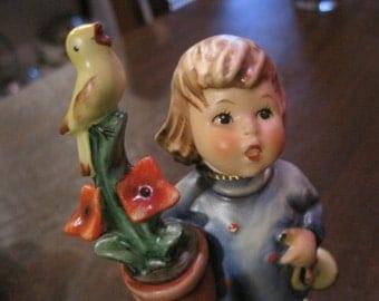 """HUMMEL - """"Congratulations"""", Girl with Horn, Flower Pot and Bird"""