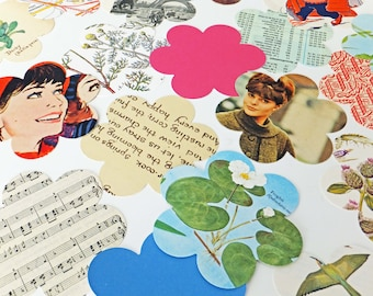 Flower die cuts, Scalloped shapes, Scrapbook embellishments, card making supplies, Eco-friendly