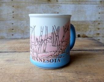 Vintage Minnesota Mug - Pink and Blue Mug - Deer Doe Mug