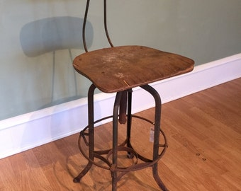 Vintage Toledo UHL Industrial Draftsman Steel Stool Chair Laminated Plywood  Ohio Furniture Company Mid Century