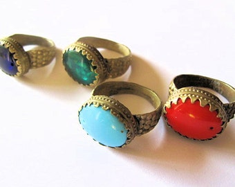 12 Vintage Tribal Rings - WHOLESALE- Red, Green, Pale Blue, and  Blue Glass from Afghanistan