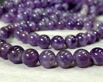 8 mm Natural Amethyst Smooth Round Beads 15.5 inch Strand - February Birthstone (PG5504NW39-BH)
