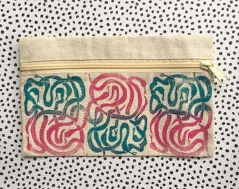 "Zipper Pouch (5.5"" by 9"") Hand Printed Lino Cut With Snake Images / Canvas Bag"