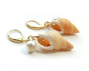 Genuine Shell with Pearl Gold Earrings