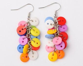 Button Cluster Silver Dangle Earrings