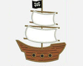 Pirate Ship...Three sizes for multiple hoops...Item1051...INSTANT DOWNLOAD