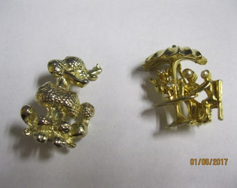 Paris in Springtime  Lovely Set of Two Brooches that Make One Think of Paris One is a Goldtone French Poodle & Other A Couple at French Cafe
