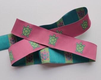 Woven jacquard ribbon turtle pink green blue preppy trim