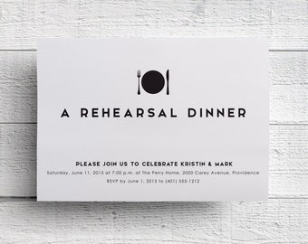 Rehearsal Dinner Invitation, Wedding Rehearsal, Printed Inviation, Modern Dinner Invitation, Fork Invitation, Rehearsal Invite