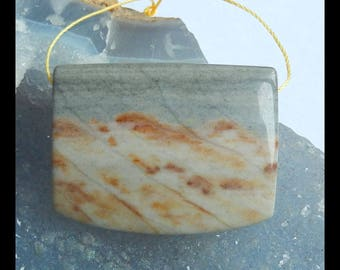 Natural Ocean Jasper Gemstone Pendant Bead,39x30x9mm,20.4g(e0471)