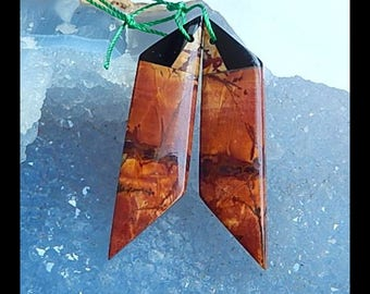 New Design,Multi-Color Picasso Jasper,Obsidian Intarsia Earring Bead,43x11x4mm,6.2g