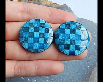 New,Blue Apatite,Labradorite,Obsidian Intarsia Cabochon Pair,26x5mm,13.1g