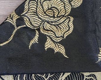 Lame Fabric, 60s Lame Fabric, Gold Foil Fabric, Rose Fabric, Gold and Black Fabric, Vintage Lame