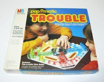 1986 TROUBLE Board Game Pop-O-Matic Milton Bradley Classic Family Fun