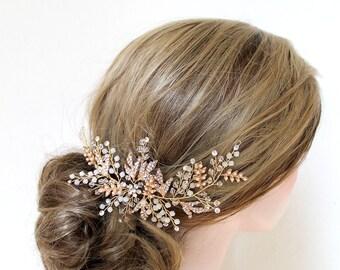 Gold Leaf Vine Opal Pearl Bridal Headpiece. Gold Ethereal Delicate Swarovski Crystal Boho Wedding Headband. Bridal Hair Comb, Wreath. ELSA