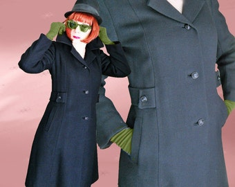 Vintage Black Winter Coat - 1960s Chesterfield - Mod Style - Form Fitting