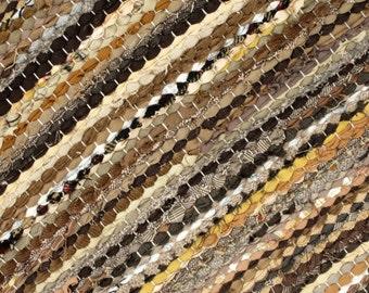 Large Handwoven, Scandinavian style,  vintage look,area rag rug - grey rock, size 6.81x 9.66 mix of brown and beige colors