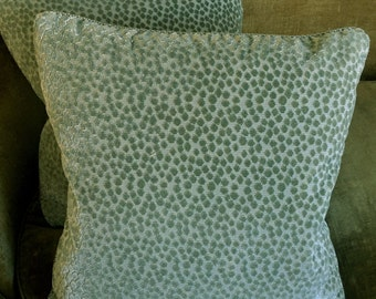 Clarence House Cut Silk Velvet Fabric Custom Designer Throw Pillows Celadon Green Selvatico Set of 2