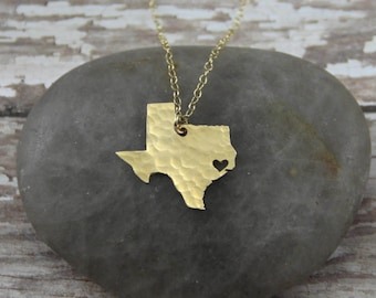 Gold Texas State Necklace - Gold Texas Necklace - I Heart Houston Necklace - Gold Texas Pendant