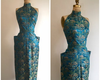 1950s Asian Halter Party Dress 50s Novelty Print Oriental Teal Brocade