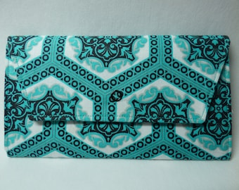Geometric and Floral Fabric Wallet (turquoise)