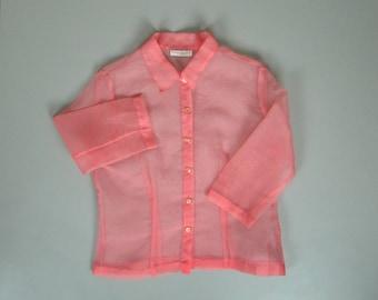 Vintage 1990s Sheer Pink Blouse. 90s Sheer Pink Blouse. 90s Minimalist Blouse. 90s Blouse. 90s Minimalism.