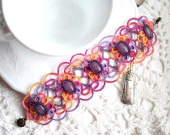 Artisan Beaded Colorful Tatting Lace Fiber Bracelet