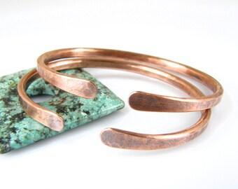 Mens Hammered Copper Wire Bracelet, Men's Rustic Antiqued Copper Bracelet, 6 Gauge Copper Cuff
