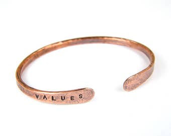 Personalized Copper Bracelet, VALUES Stamped Copper Bangle, Antiqued Copper Bangle for Men & Women in 8 Gauge Wire