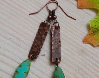 Copper & Czech glass drop earrings