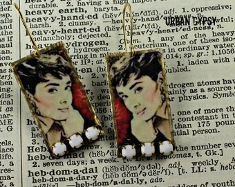 E 117 Audrey Hepburn Caricature Image Of Breakfast At Tiffany's Movie Icon Dangle Drop Earring