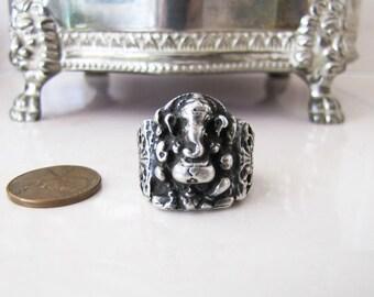 Vintage old Ganesha Silver Ring, Primitive Silver ring