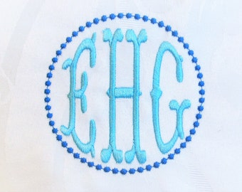 Unique new and awesome Fishtail circle monogram assorted sizes Monogram Font Classic Font Circle 3 Embroidery wedding 4x4