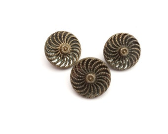 3 Filigree Antique Gold Metal Buttons, Shank