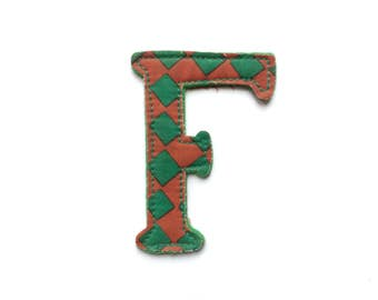 Vintage F Initial Iron on Patch