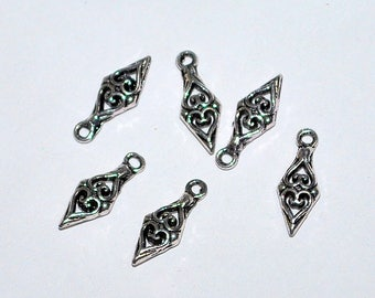 10 pcs 14x5mm Antique Silver Scroll Design Double Sided Charms