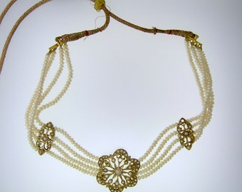 Indian BRIDAL Jewelry~NATURAL Pearl Choker with 3 12k Gold Plaques~Adjustable