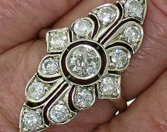 Vintage EDWARDIAN PLATINUM-TOPPED Diamond Ring, Circa 1905