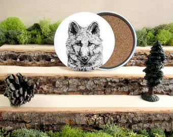 Wolf Coaster Set - Home Decor - Gift for Animal Lover or Outdoorsman - Cork-Bottom Coaster Set of 4 - White Wolf - Arctic Wolf Wolves