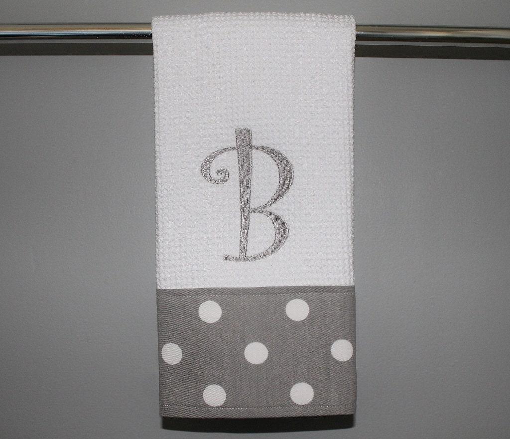 monogrammed grey and white dot kitchen towel or hand towel. Black Bedroom Furniture Sets. Home Design Ideas
