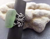 Chunky Scottish Sea Glass Ring in Green with Adjustable Victorian Style Silver Band from Scotland, Romantic Gift, size 6 7 8 9