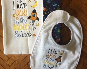 Baby boy bib and burp cloth set, cute burp cloth and bib, baby gift, baby shower gift, I love you to the moon and back