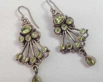 "2"" Vintage Sterling Chandelier Genuine Peridot Earrings FREE SHIPPING"