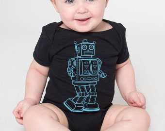 baby infant onesie Robot American Gothic- American Apparel black- 3-18 months available- Worldwide shipping