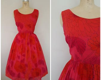 Vintage 1950s Dress / Red Floral Chiffon / Medium