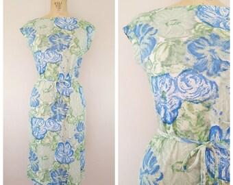 Vintage 1960s Shift Dress / Dress in a Bag / Floral Spring Dress / 60s Dress / Medium Large