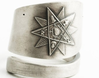 OES Ring, Order of the Eastern Star Masonic, Sterling Silver Spoon Ring, Christian Freemason Ring Gift for Her,  Adjustable Ring Size (6452)